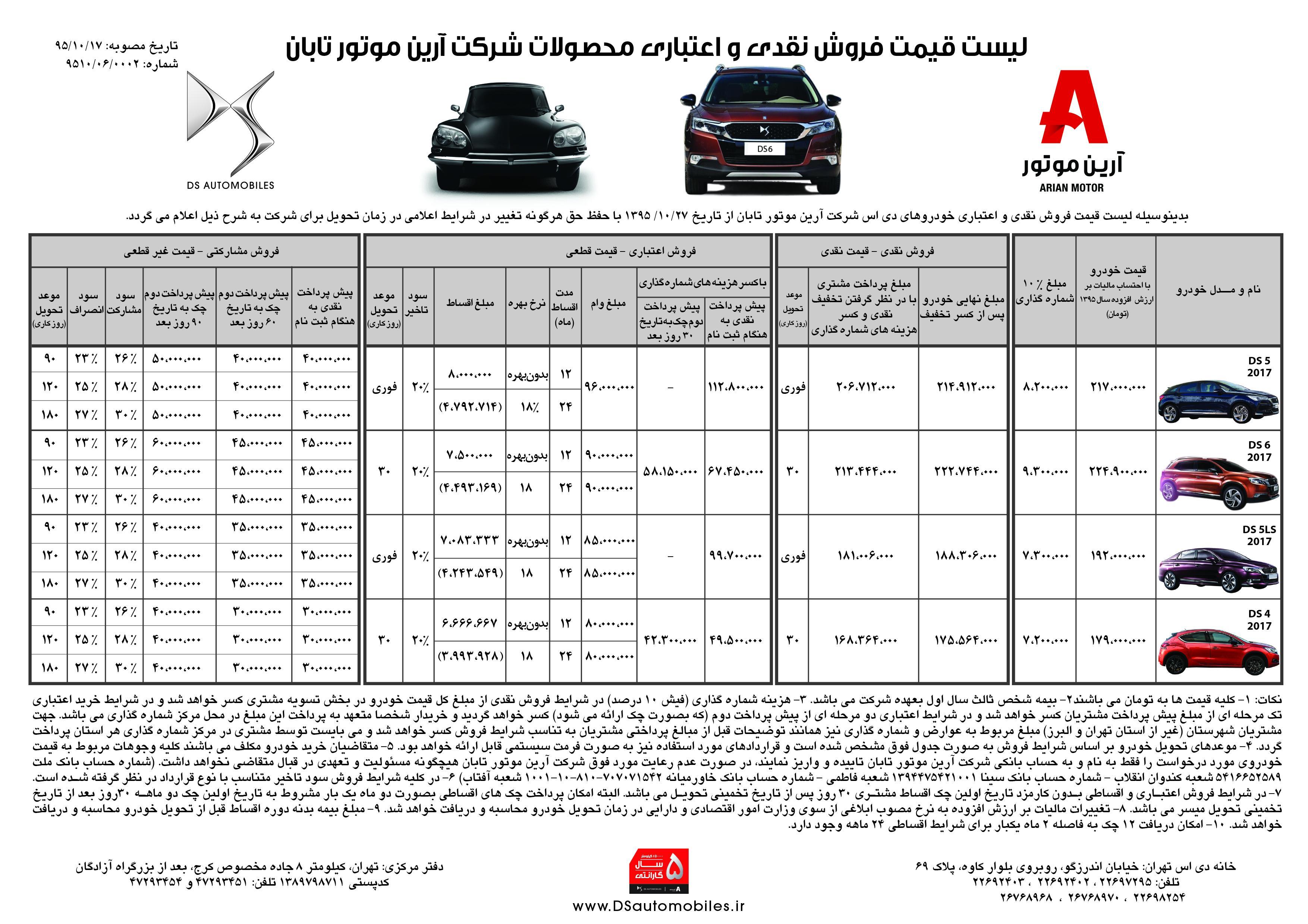 شرایط فروش ویژه زمستانه برخی از مدل های برند پرمیموم DS با اقساط ۲۴ ماهه