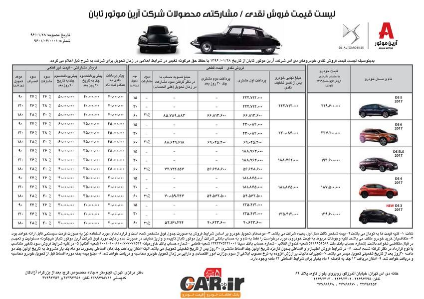 شرایط فروش متفاوت خودرو های DS