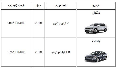 اعلام قیمت دو خودروی جدید تیگوان و پاسات در ایران