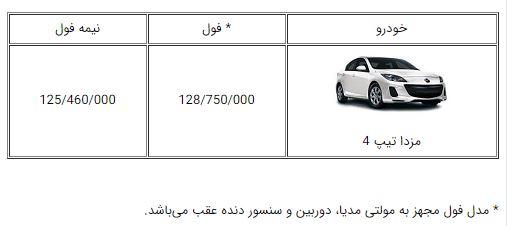 اعلام قیمت جدید خودروی مزدا3 با مدل 97