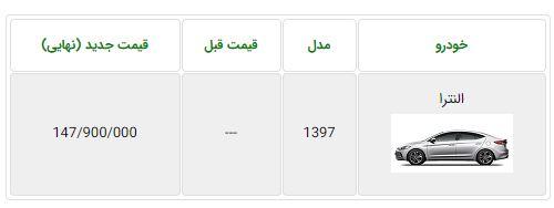 اعلام قیمت قطعی هیوندای النترا تولید داخل - بهمن 96