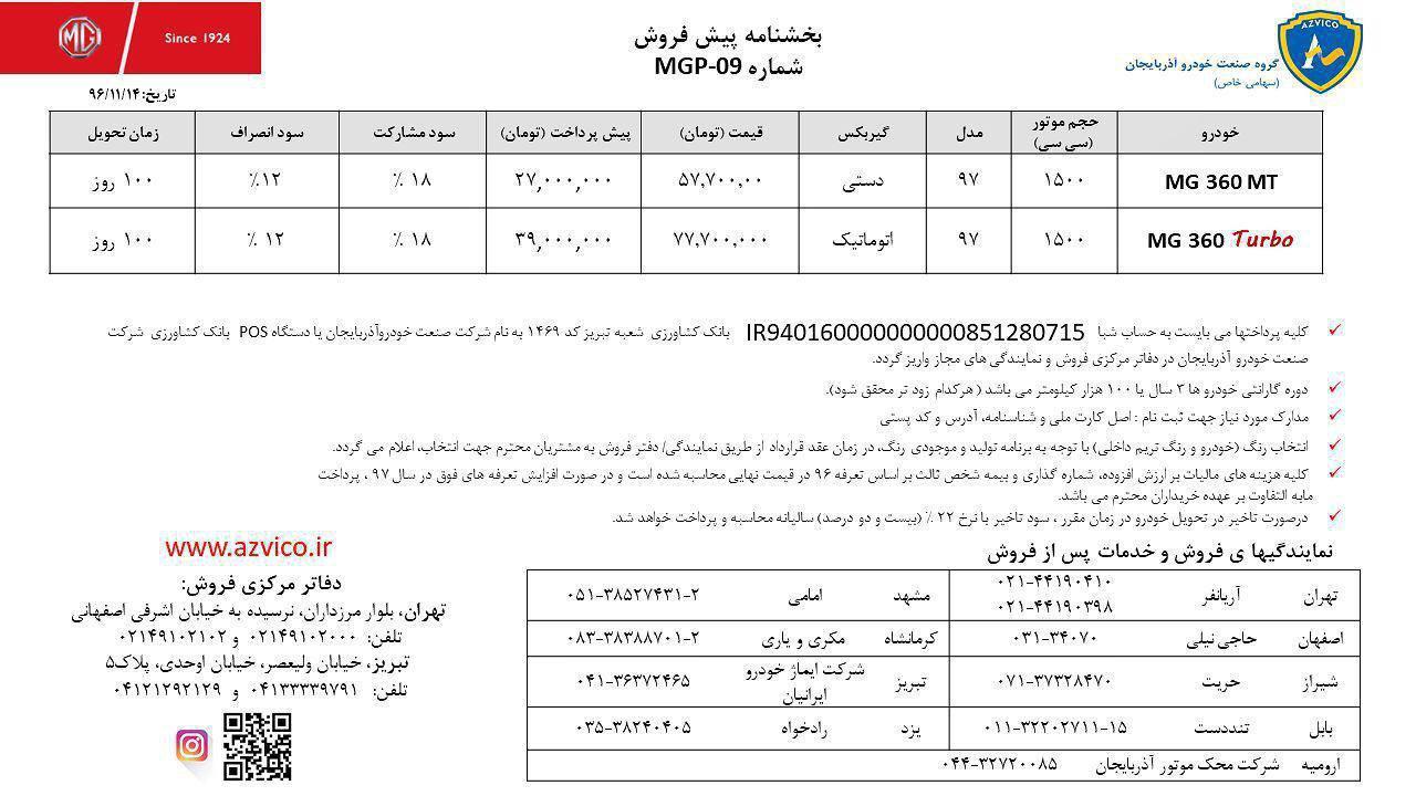 اعلام قیمت خودروی MG360 با موتور توربو در ایران