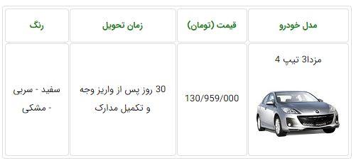 شرایط فروش فوری مزدا3 تیپ 4 با قیمت جدید - اسفند 96