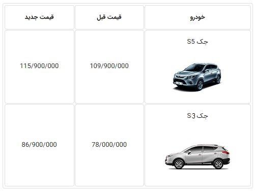 اعلام قیمت جدید جک S5 و S3 اتوماتیک - اردیبهشت 97