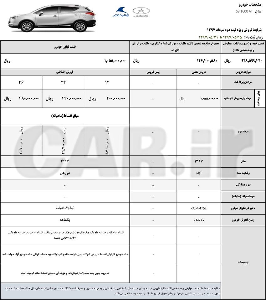 شرایط فروش جک S3 کرمان موتور اعلام شد (نیمه دوم مرداد ماه)