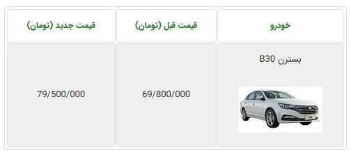 اعلام قیمت جدید بسترن B30 گروه بهمن - مرداد 97