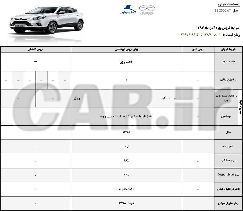 اعلام شرایط فروش جک S5 , S3  کرمان موتور – ویژه آبان
