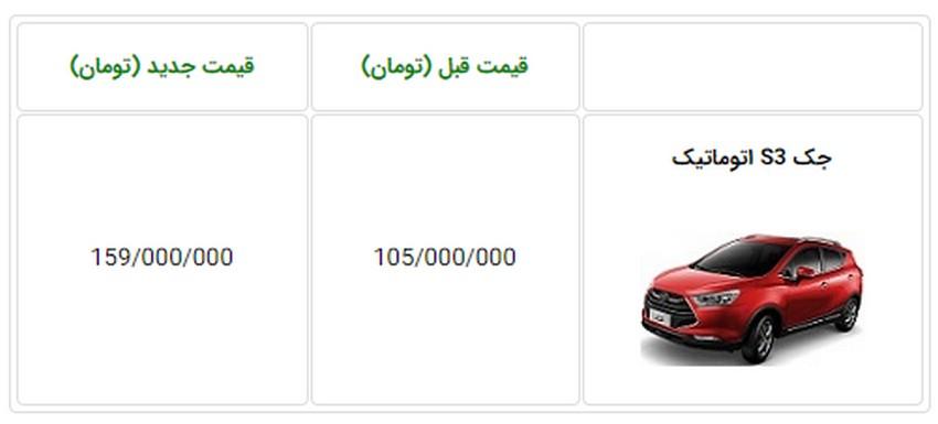 اعلام قیمت جدید و عجیب خودروی جک S3 - آبان 97