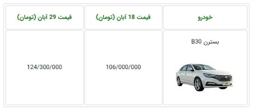 اعلام قیمت جدید خودروی بسترن B30 - آبان و آذر 97