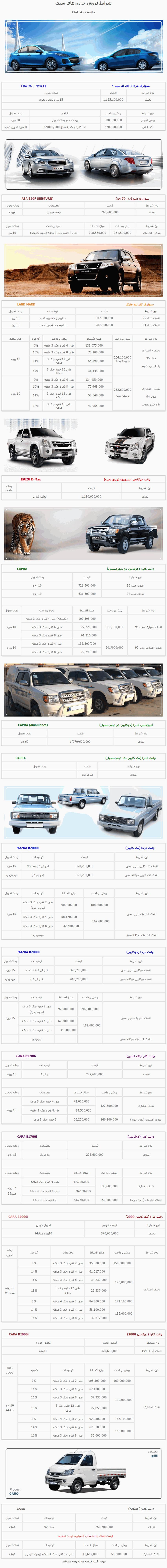 فروش نقد و اقساط مزدا3 و دیگر محصولات گروه بهمن
