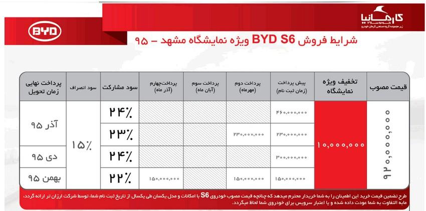 شرایط فروش خودروی جدید BYD S6 - ویژه نمایشگاه مشهد :